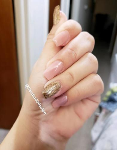 Light Nude and Gold. Nails by Corie.
