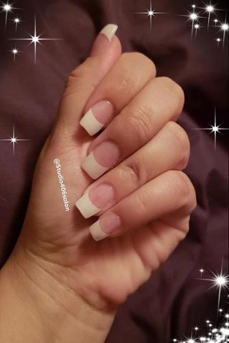 Classic French Nails. Acrylics by Corie.