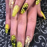 Nail Art Bees and Gold Foil. Acrylic Nails.